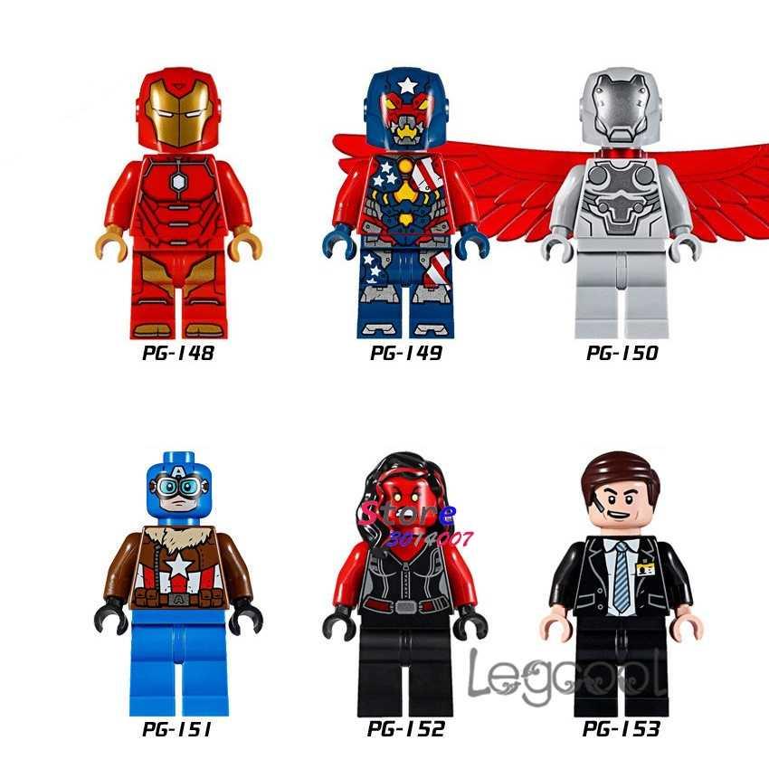 1PCS modelo blocos de construção de super herói Homem De Ferro Martelo Super-O Adaptóide Coulson diy brinquedos Capitão América Hulk Vermelho para presente das crianças