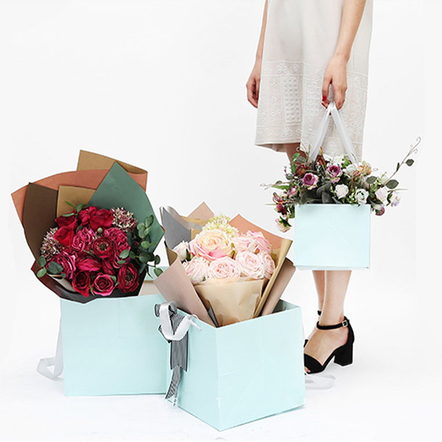 One Piece Square Flower Gift Paper Bag Flower Packaging Boxes