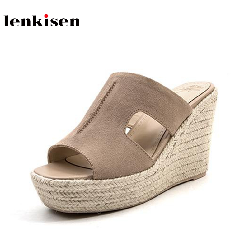 Lenkisen new cow suede slip on slingback simple fashion platform women sandals peep toe super high heels wedges summer mules L03 2018 women sandals fashion peep toe casual slip on sandals women beach summer shoes women wedges platform cover heel sandals