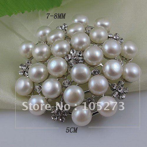 Charme! Branco pérola genuína broche broche de aço inoxidável moda broche de flor 1 pçs/lote frete grátis A2253