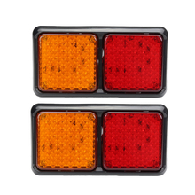 1Pair 72LED Car Stop Turn Signal Lamp Red Yellow Rear Tail Lights for 12V Truck Trailer Caravan with Reflector цена