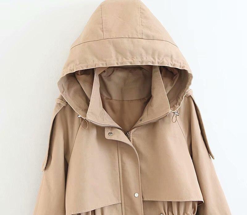 Goodelisa D'hiver Femmes Tranchée vent À Cardigan Air Long Plein En Manteau Femelle Rivet Survêtement Coupe Capuchon Kaki Mode xfAxr