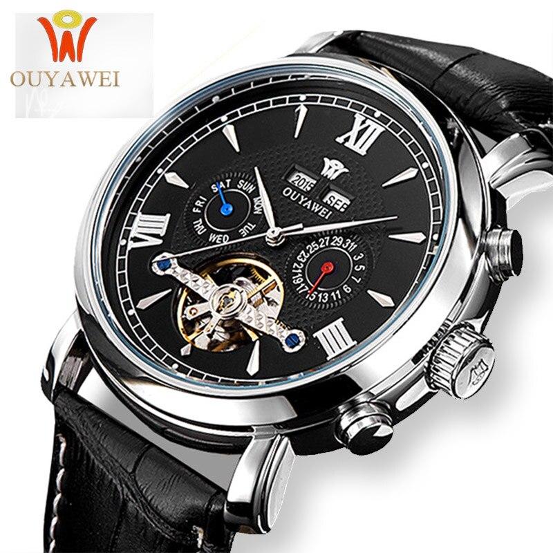 OUYAWEI Skeleton Mechanical Watch Luxury Men Black Tourbillon Business Brand Leather Date Male Watches Clock Relogios Masculino lige horloge 2017