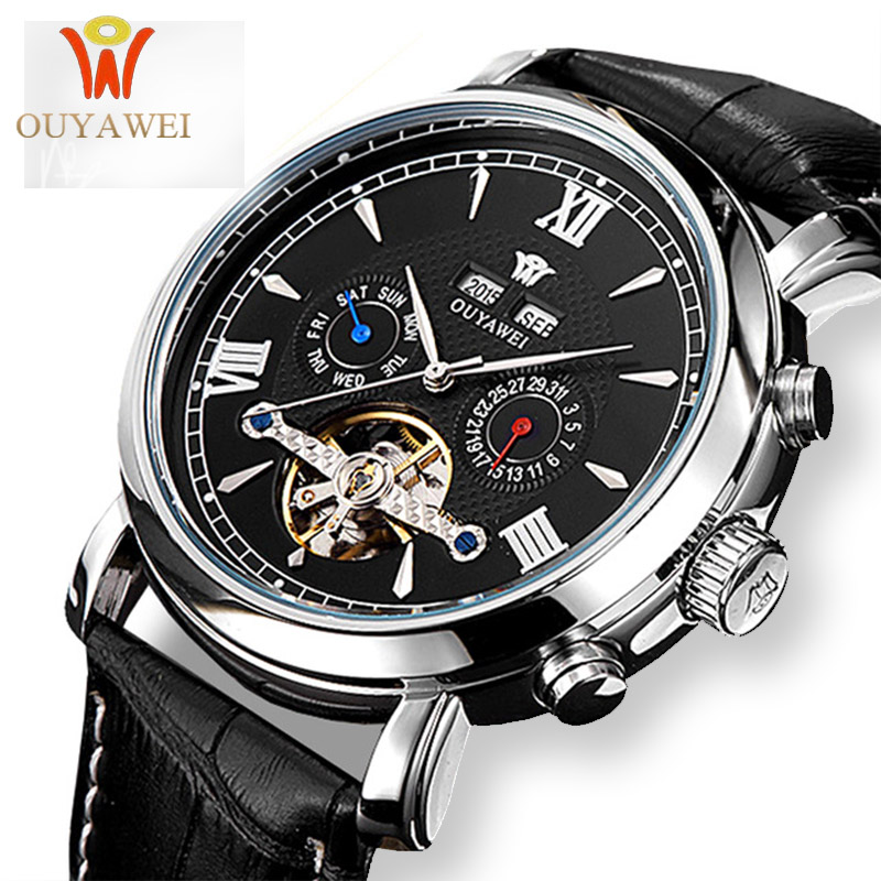 OUYAWEI Skeleton Mechanical Watch Luxury Men Black Tourbillon Business Brand Leather Date Male Watches Clock Relogios Masculino winner skeleton mechanical watch luxury men black waterproof fashion casual military brand sports watches relogios masculino