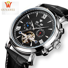 OUYAWEI Skeleton Mechanical Watch Luxury Men Black Tourbillon Business Brand Leather Date Male Watches Clock Relogios Masculino цены онлайн