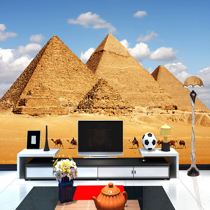 Custom 3d photo wall paper large mural blue sky pyramid for 3d wallpaper for home egypt