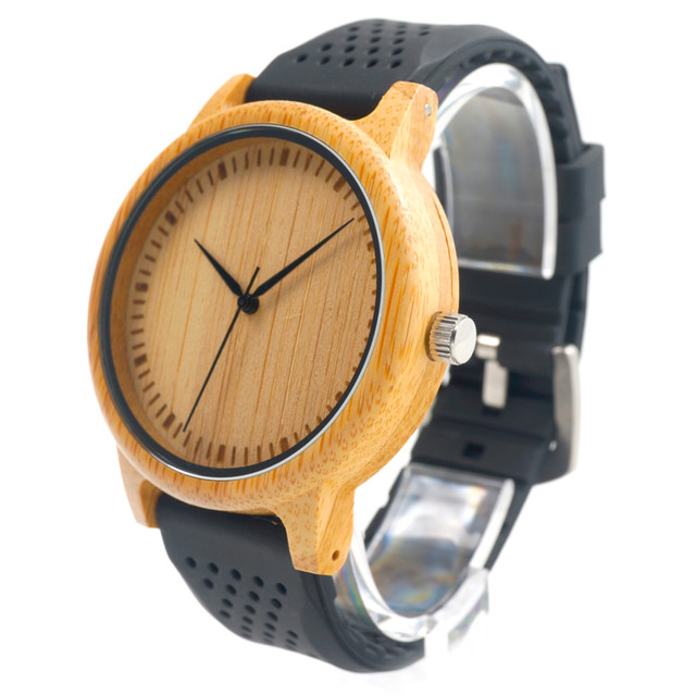 Bobo bird ano novo promoção de vendas das mulheres dos homens de madeira de bambu quarzt Relógio de pulso com Silicone Strap Comprar Um Relógio Get Free Banda