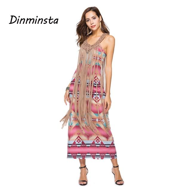 dea7d60814 US $21.77 45% OFF|Dinminsta Women New Spring Tassel Midi Dress Casual  Sleeveless Bohemian High Quality Vintage Frock Design Lady Party Long  Dress-in ...