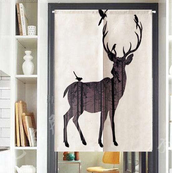 1PCS Fashion 3D Deer printed Kitten Cloth Japanese Doorway Curtain Polyester Fiber Hotel Bathroom Kitchen Decor Home Textile