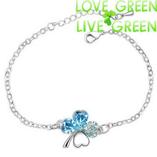 Free shipping factory Wholesales 18K white Gold Plated Austrian Crystal Clover 4 leaf Link Bracelet Bangle fashion jewelry 9554