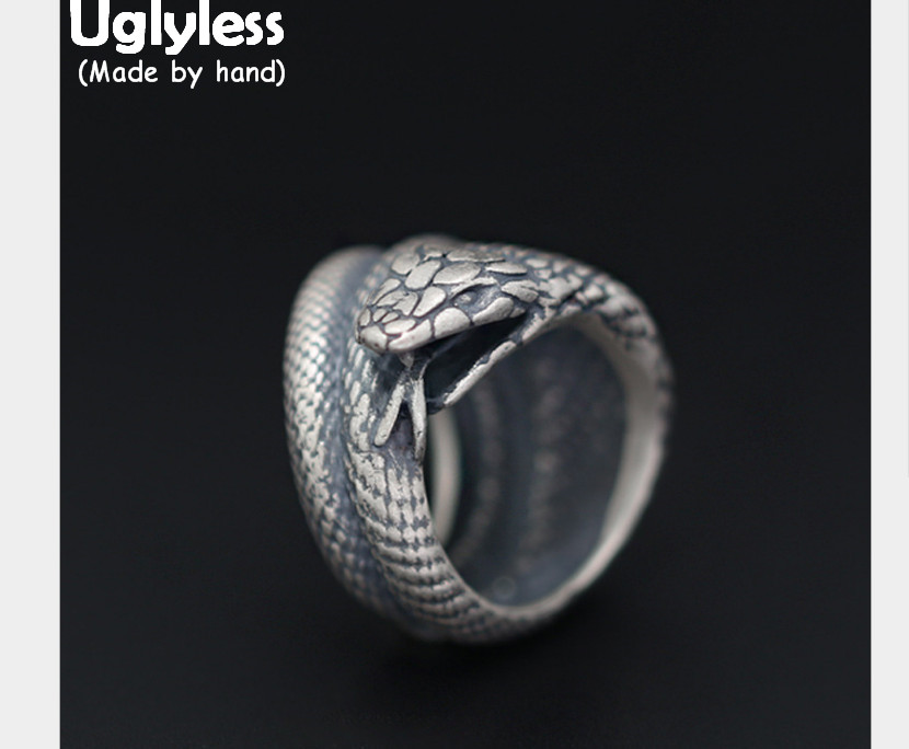 Uglyless Real S 925 Sterling Silver Cobra Rings Men Exaggerated Snake Wide Finger Ring Cool Gothnic
