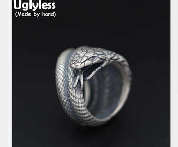 Uglyless Real S 925 Sterling Silver Cobra Rings Men Exaggerated Snake Wide Finger Ring Cool Gothnic Punk Jewelry Handmade Bijoux - DISCOUNT ITEM  40% OFF All Category