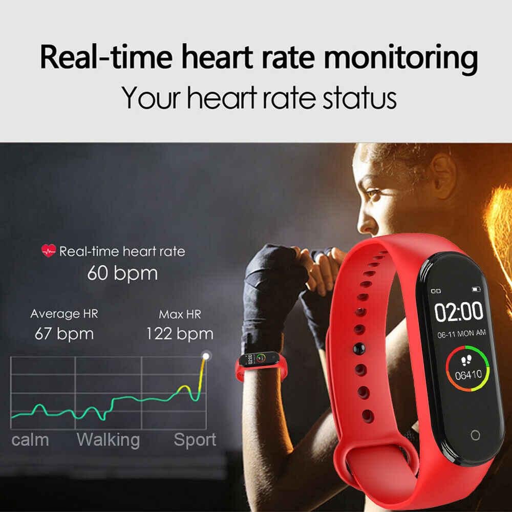 Inteligente de alta qualidade m4 relógio masculino e feminino pressão arterial monitor freqüência cardíaca portátil esportes informações lembrete pulseira