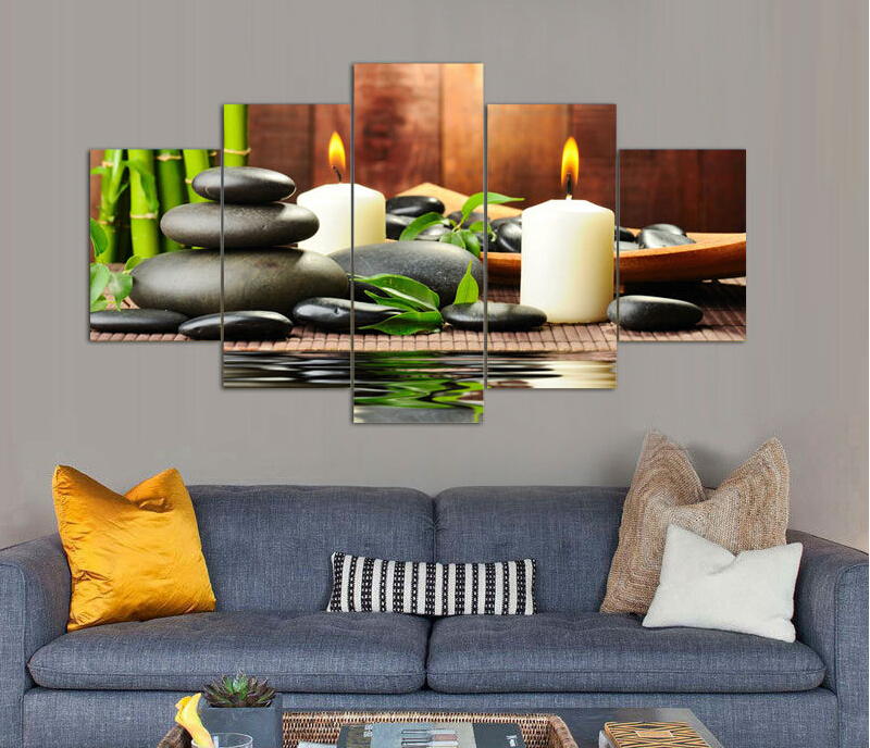 5 Panel Wall Art Botanical Green Feng Shui White Candle Painting On Canvas Pictures For Living Room Decor