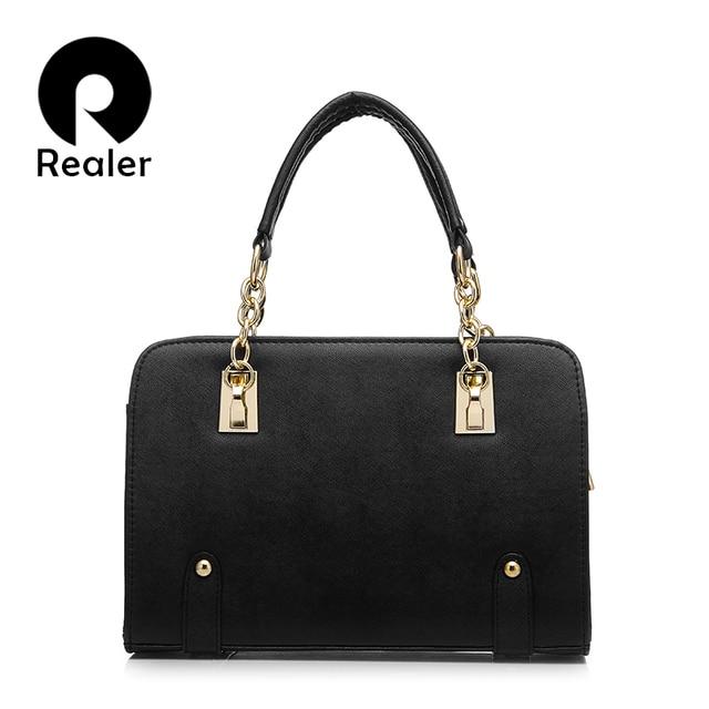 Realer designer candy color handbag high quality women tote bag pu leather evening shoulder messenger bags