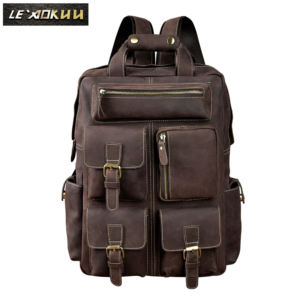 Real Leather Heavy Duty Design Men Travel Casual Backpack Daypack Rucksack Fashion Knapsack College School Book Laptop Bag 1170 genuine leather heavy duty design men travel casual backpack daypack fashion knapsack college school book laptop bag male 1170c