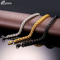 6mm Wheat Chain Necklace For Men 316L Stainless Steel Never Fade 18K Real Gold Plated Black