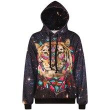 Harajuku 3D Print Galaxy Stars Tiger Sweatshirts Fashion Long sleeve with hat Women men Hoodies Cartoon Hoody Hooded Pullover