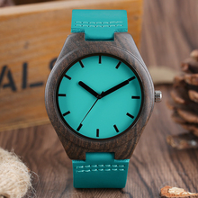 2017 New Mens Fashion Blue Sandalwood Wooden Dress Quartz Analog Wristwatch Genuine Leather Band Wood Watches for Women Gifts