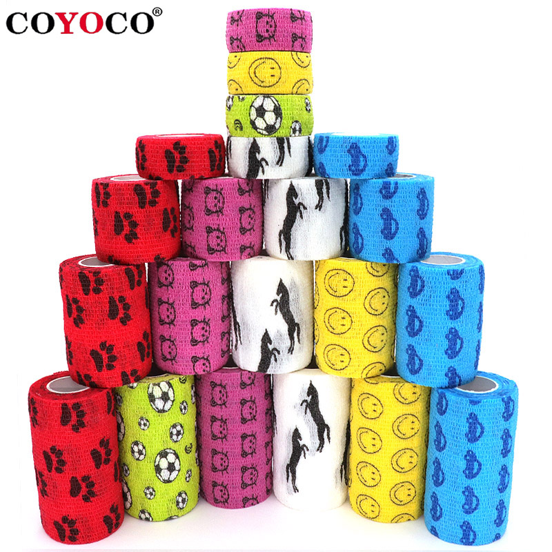1 Pcs Printed Medical Therapy Elastic Bandage Elastoplast 4.5m Sports Colorful Self Adhesive Wrap Tape For Finger Joint Knee Pet