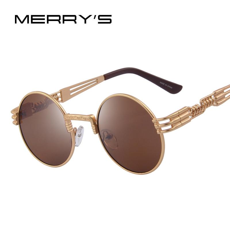 MERRY'S Women Steampunk Sunglasses Men Retro Round Sunglasses Metal Sun glasses Men Oculos De Sol UV400