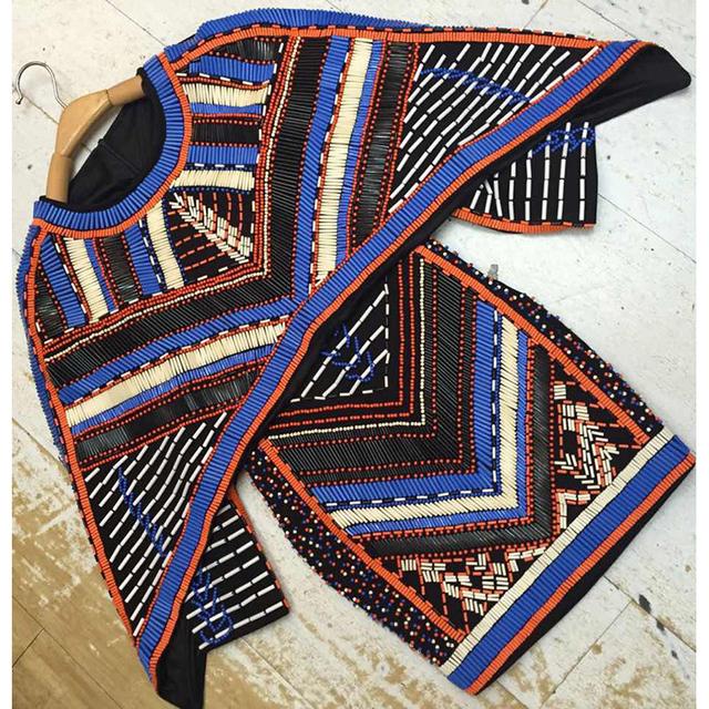 HIGH QUALITY Newest Fashion 2016 BAROCCO Unique Runway Dress Women's Batwing Sleeve Luxury Stunning Manual Hand Beading Dress