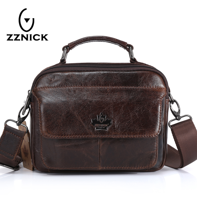 ZZNICK 2018 Genuine Cowhide Leather Shoulder Bag Small Messenger Bags Men Travel Crossbody Bag Handbags New Fashion Men Bag 5108 2017 new female genuine leather handbags first layer of cowhide fashion simple women shoulder messenger bags bucket bags