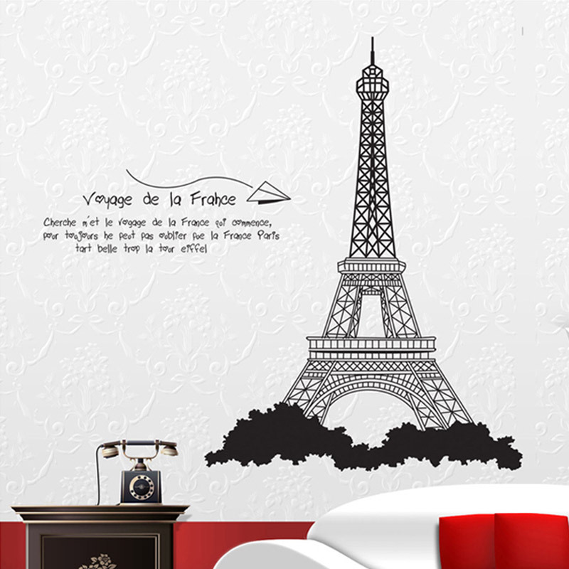 50pcs/Pack GIANT EIFFELL TOWER PARIS Wall Sticker Mural Decal Children Kids Bedroom Decor Nursery Family Quote