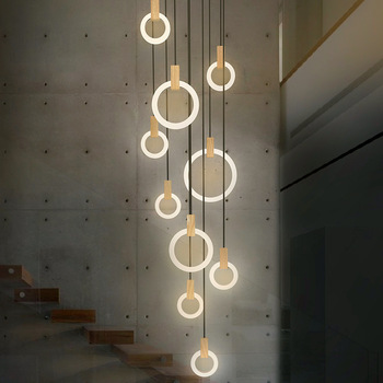 Modern LED stair chandelier lighting Nordic living room ceiling pendant lamps bedroom Acrylic rings fixtures Wood hanging lights 1
