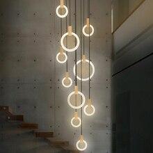 מודרני LED מדרגות נברשת תאורת נורדי סלון תקרת תליון מנורות חדר שינה אקריליק טבעות גופי עץ תליית אורות