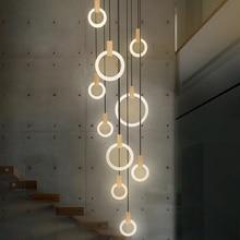 Moderne Led Trap Kroonluchter Verlichting Nordic Woonkamer Plafond Hanglampen Slaapkamer Acryl Ringen Armaturen Hout Opknoping Lichten
