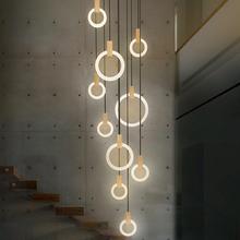 Nowoczesny LED żyrandol Nordic salon Lampa wisząca sypialnia lampy schody oświetlenie nowości oświetlenie Loft wiszące światła tanie tanio Żyrandole 220V 110V z gaobi Pierścień oprawy oświetleniowej W górę w dół Deco Dotknij przełącznika wł wył