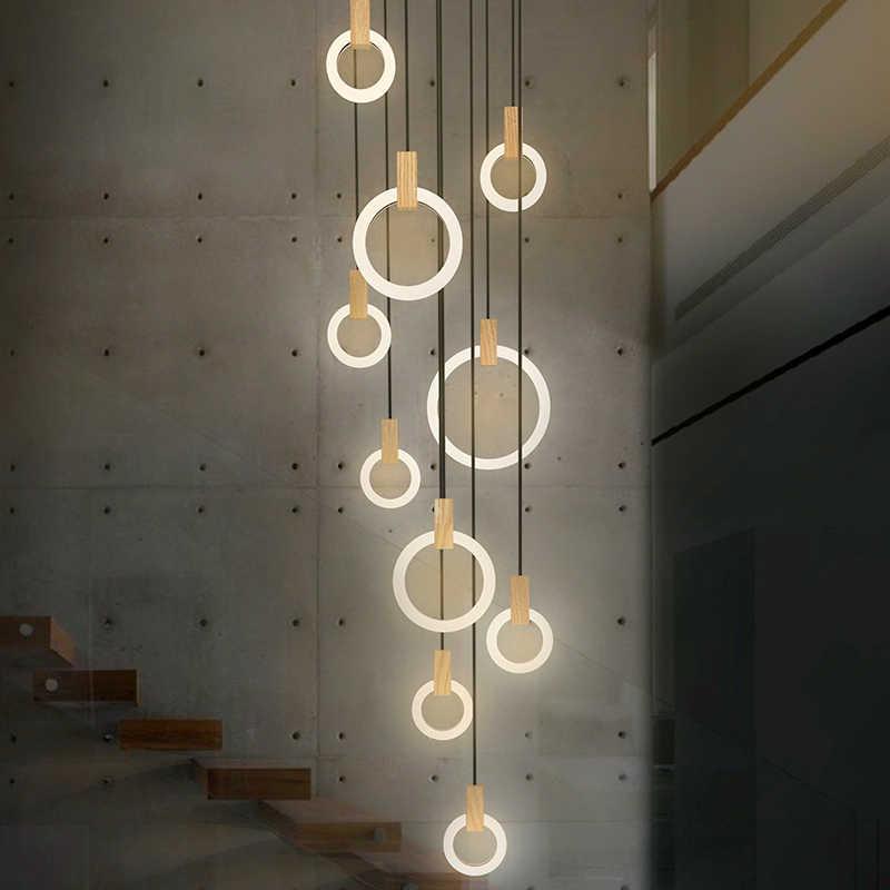 Современные светодиодные люстры nordic гостиная подвесной светильник спальня светильники освещения лестницы Лофт освещения длинные Висячие огни
