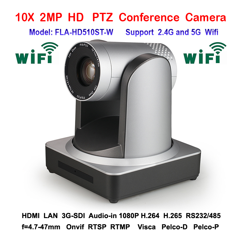 3.5mm audio input hd 10x Zoom video conference 3G-SDI HDMI WIFI IP camera With RS232 / RS485 Remote Control