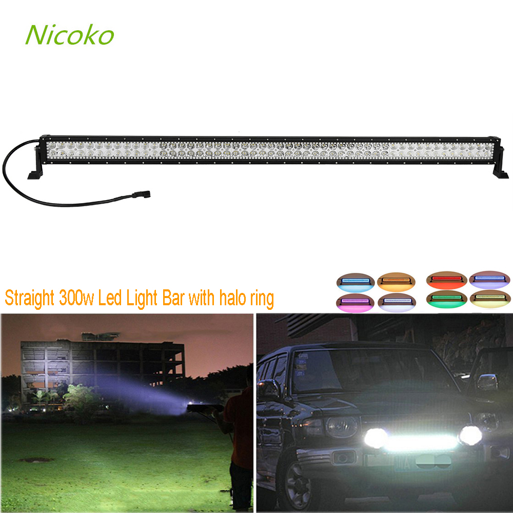 Nicoko 52300w straight LED Offroad Light Bar With RGB Halo Spot flood Combo Led Work Light 12v 24v for hunting Motorcycle boat new 658103 001 for g8 g9 500gb 6g 7 2k 3 5 sata sc one year warranty