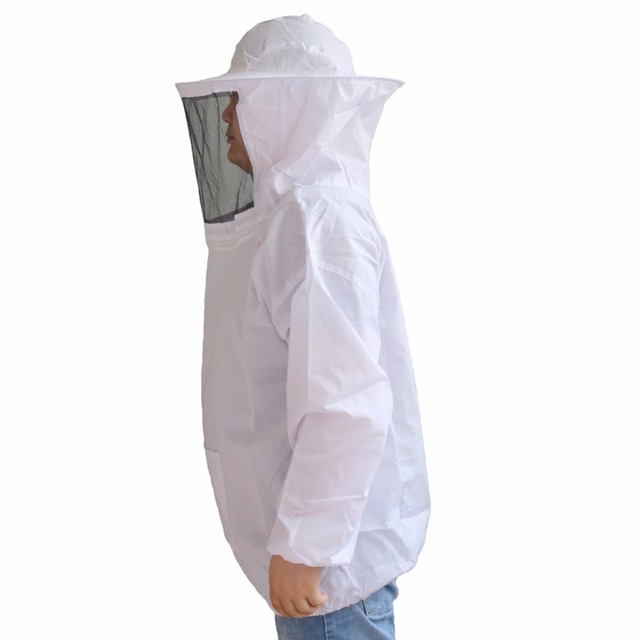 Beekeeper Protective Clothing With Black Veil And Hat White Bee Insect Feeding Supplies Beekeeping Tools