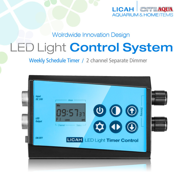 LICAH Aquarium LED Control System / Weekly Timer / 2 Channel Dimmer
