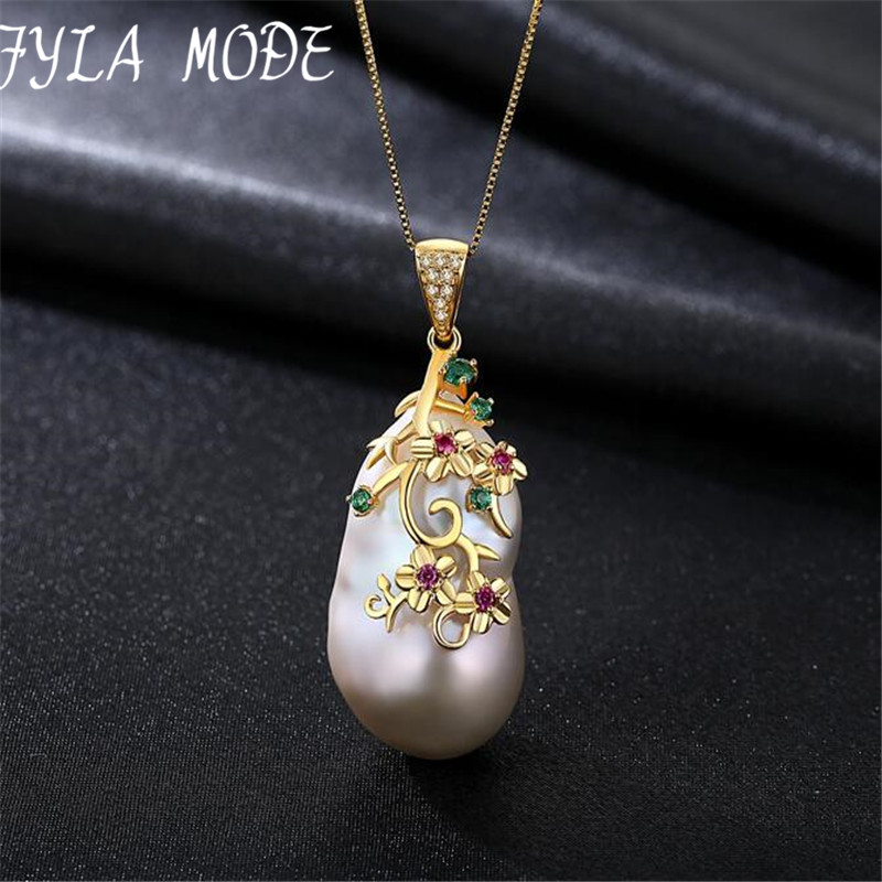 Fyla Mode Special-shaped Baroque Big Natural Pearl Pendant Women Necklace Sterling Silver Chain Each Pearl DifferenceFyla Mode Special-shaped Baroque Big Natural Pearl Pendant Women Necklace Sterling Silver Chain Each Pearl Difference