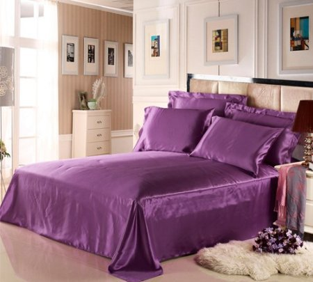 Silk Flat Sheet 1pc 100% Mulberry Silk 16.5mm Violet Color Solid Color Plain Custom order is acceptable ls2612
