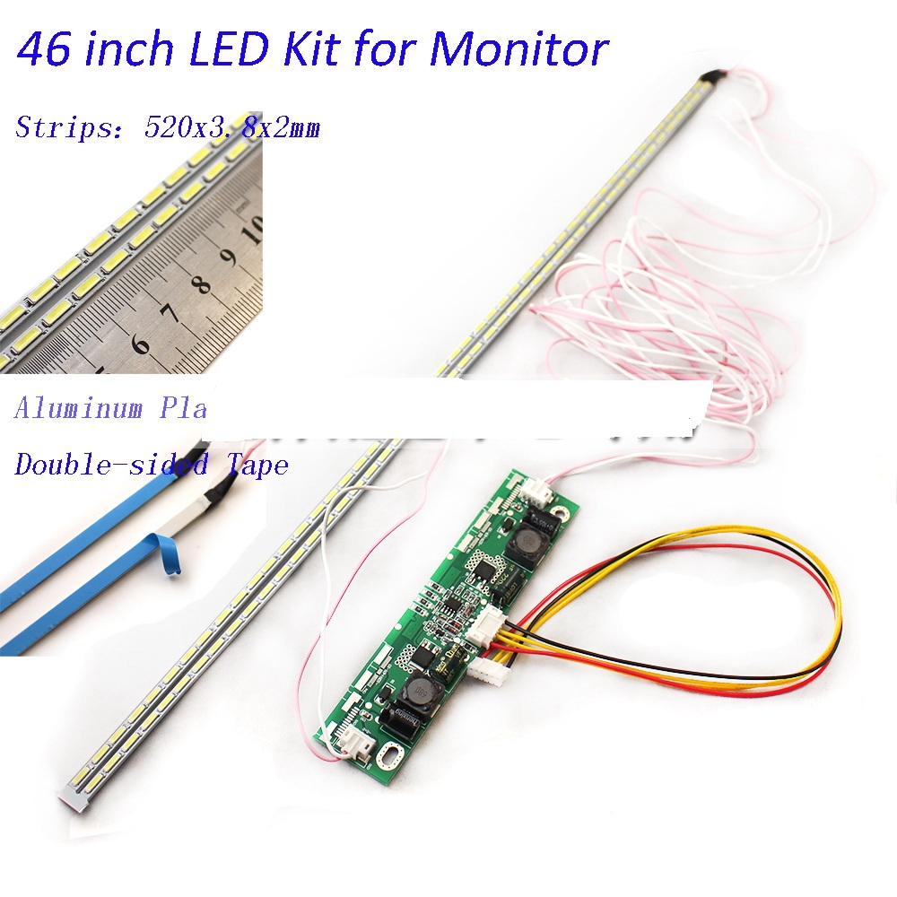 46 Inch LED Aluminum Plate Strip Backlight Lamps Update Kit For LCD Monitor TV Panel 2 LED Strips 520mm Free Shipping