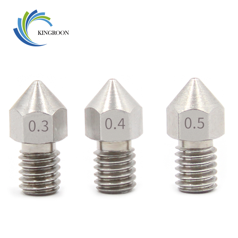 KINGROON MK8 Stainless Steel Nozzle 0.3mm 0.4mm 0.5mm For 1.75mm/3.0mm Filament 3D Printer Extruder Nozzles V5 V6 Print Head
