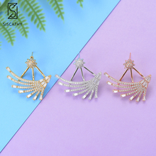 SISCATHY Fashion Women Stud Earrings Statement Jewelry Full Cubic Zirconia pendientes mujer moda 2018