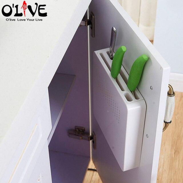 Hidden Knife Holder Stand Block Plastic Kitchen Knives Storage Rack Cabinet Shelf Organizer Kitchen Accessories