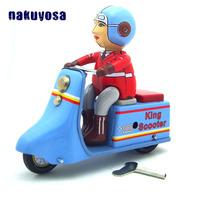 Blue Scooter Simulation Tin Toys Mechanical Clockwork Vehicles Toy Cars Childhood Memory Antiqu Collection Toys