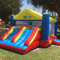 YARD Inflatable Games Trampoline Bouncer House With Slide Children Outdoors Oxford PVC Inflatable Castle Moonwalk Bouncer Blower