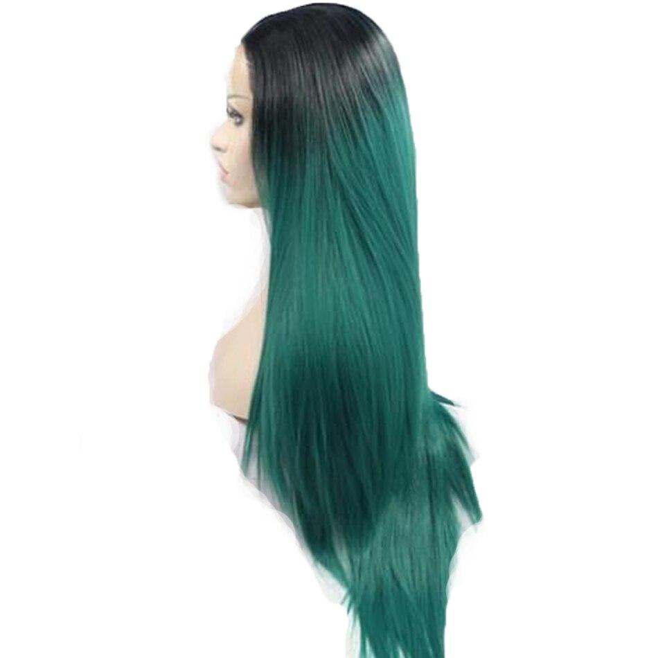 Perruque de cheveux humains Ombre 1B/bleu vert 99J 30 Rose Rose 4x4 perruques avant en dentelle droite 2 tons Non Remy cheveux humains peuvent faire des cheveux de bébé
