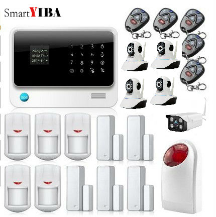 SmartYIBA Wireless GPRS GSM Alarm Door Open Reminder Home Alarm Security Outdoor Wifi Ip Camera Flashing Siren