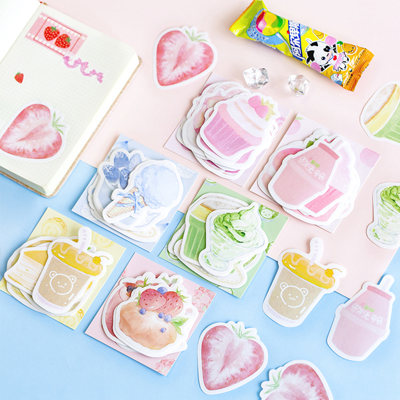 30 Pcs/Bag Dessert Fruit Memo Pad Planner Sticky Note Paper Sticker Kawaii Stationery Pepalaria Office School Supplies 30pages