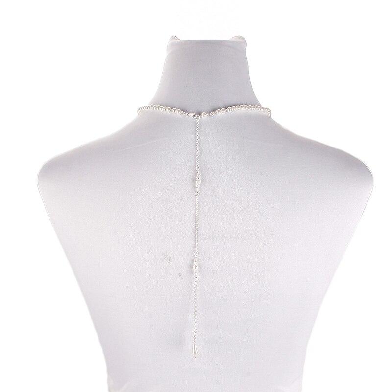 625a12911f87 Simple perla espalda gota collar largo espalda collar PERLA para boda  joyería nupcial  235163 en Colgantes de Joyería y accesorios en  AliExpress.com ...