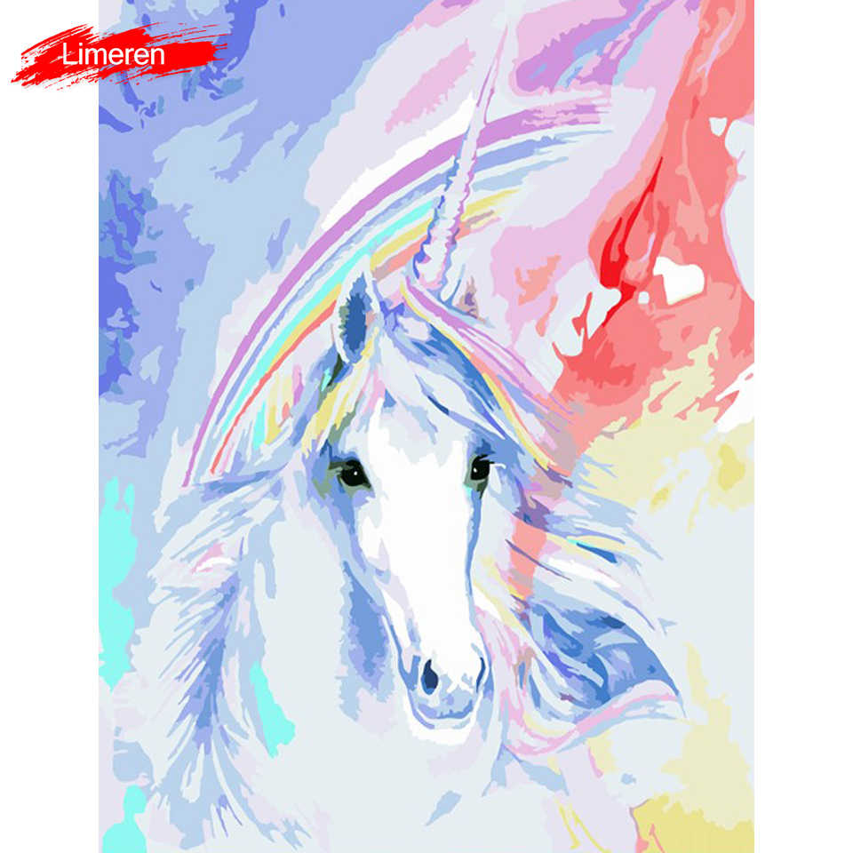 Unicorn Animals DIY Painting By Numbers Handpainted Oil Paint By Numbers Kits Home Wall Art Picture For Decor Unique Gift